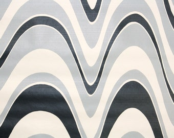 Retro Wallpaper by the Yard 70s Vintage Wallpaper – 1970s Black Gray and White Waves