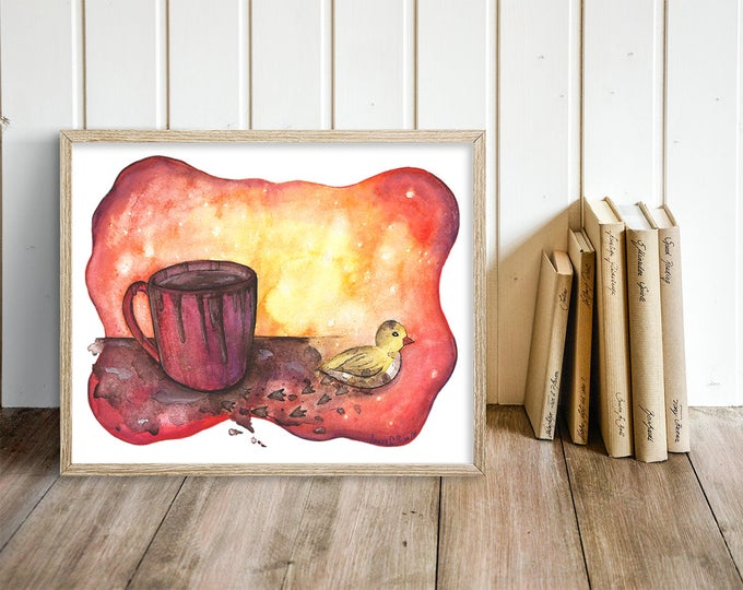 Modern Baby Animal Nursery Art - Baby Duck Watercolor Print -  Duckling & Coffee Print - Gift for Coffee Lover - Canadian Art Poster Print
