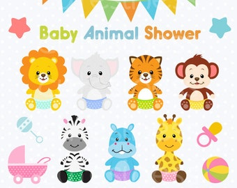 Baby Animal Clipart , Baby Animal Clip art, Baby Jungle Animals Clipart, Baby shower Clipart