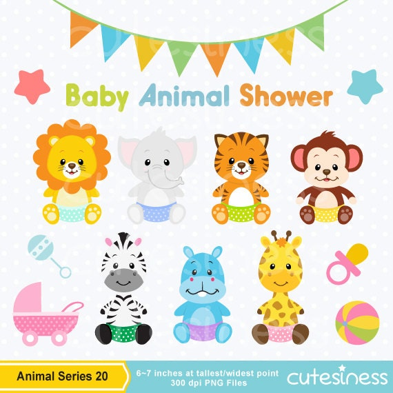 Baby Animal Clipart , Baby Animal Clip Art, Baby Jungle Animals Clipart, Baby  Shower Clipart From Cutesiness On Etsy Studio