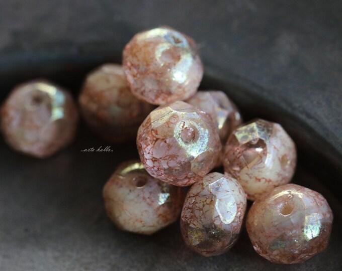 CHABLIS .. 10 Premium Picasso Czech Glass Rondelle Beads 6x8-9mm (5490-10)