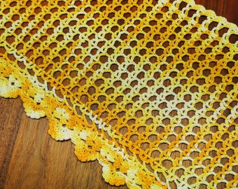 Well done vintage 1970s flamy handmade crochet yellow cotton yarn curtain coat