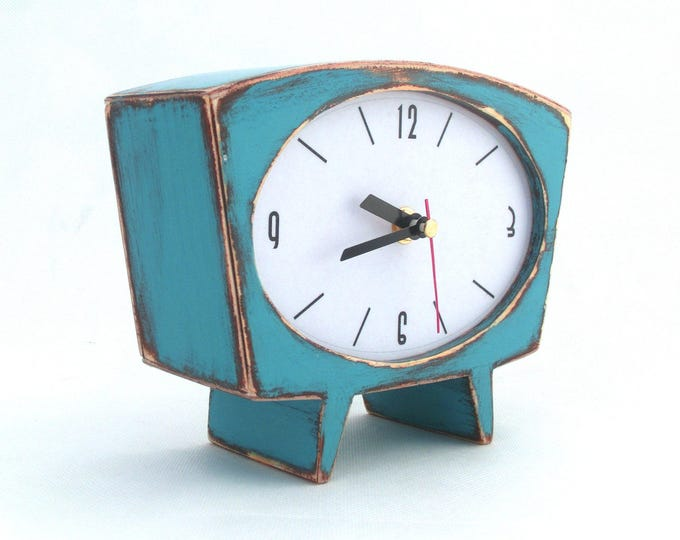 Featured listing image: NO TICKING Desk Clock Turquoise Wood Table clock, Unique Wooden clock, Cute Handmade SILENT Mantle clock, Spring blue green gift for Mom