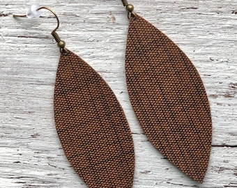 Brown Feather Shaped Faux Leather Earrings