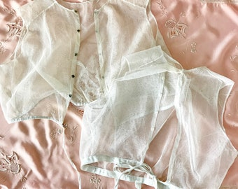 Two Antique Tulle Cotton Tie Corset Covers