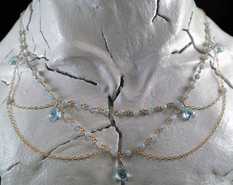 14K Gold-Filled Necklace with Aquamarine