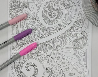 Summer Day Coloring Page Digital Download Zentangle ZIA