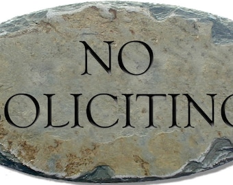 NO SOLICITING Sign / Carved Lettering Stone / Slate / Plaque / Fence / Private #NoSol