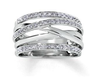 14k white gold ring. Woman ring. Statement Ring. Ring for woman. Wide gold ring. Unique gold ring. Multiband ring. Gold rings for women