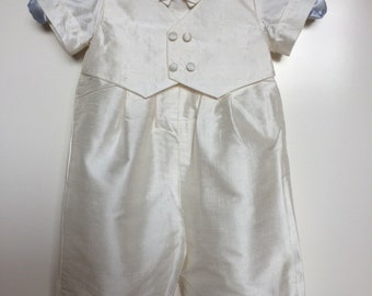 Unique, hand made Baptism/ Christening romper, made in pure ivory silk.