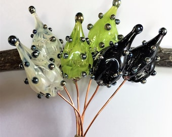 Lampwork Glass Headpins, Lampwork Headpins, Hollow Pod Headpins, Transparent White Glass, Lime Glass, Black Glass, Silver Glass - MTO