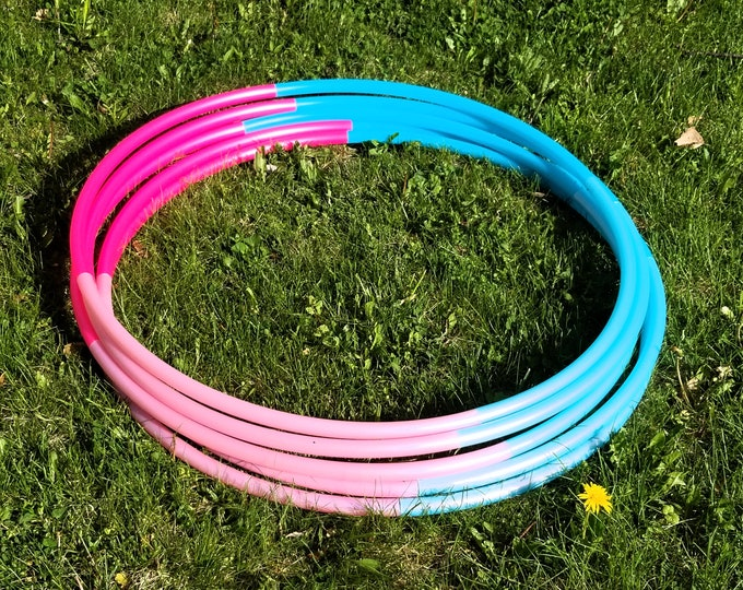 """Cotton Cand Dream Ombre 4 Tone Polypro Hula Hoop 3/4""""or 5/8"""" Collapsible for Travel- Push Pin Connection"""