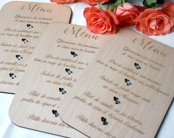 Menu (5) for wedding event baptism communion anniversary menu wooden table menu to customize wedding party menu restaurant menu