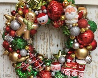 Toy Ornament Wreath - Santa Ornament Wreath  - Christmas Ornament Wreath - Holiday Wreath - Christmas Wreath - Ornament Wreath