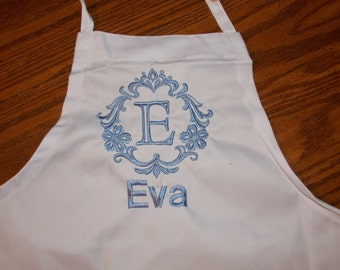 Monogrammed Apron, Kids Personalized Apron, Damask Apron, Adult Apron, Toddler Apron, Art Apron, Kids Party Favor, Birthday Party Gift