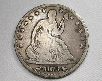 1873-CC Arrows Seated Liberty Half Dollar VG Coin