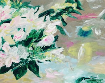 Original still life painting acrylic on canvas white pink flowers abstract floral arrangement flower art