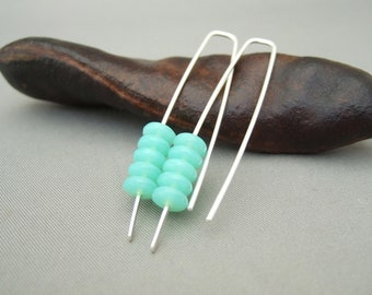 Aqua Green Stacked Earrings - Sea Green Czech Glass and Sterling Silver Modern Drop Earrings
