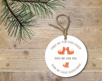 Baby's First Christmas Ornament, Fox Ornament, Woodland Creatures, Deer, Christmas Ornament, Baby Shower Gift, New Baby, Christmas Gift