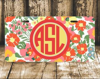 License Plate, Monogram License Plate, Car Tag,  Personalized License Plate, Monogram Car Tag, Lily Inspired Pattern, Aluminum License Plate