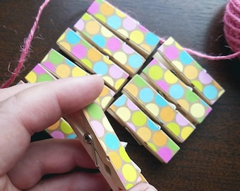 Clothesline, Pastel Circus Party Polka Dots Clips w Twine for Photo Display, Chunky Little Clothespins, Set of 12, Easter Polka Dots
