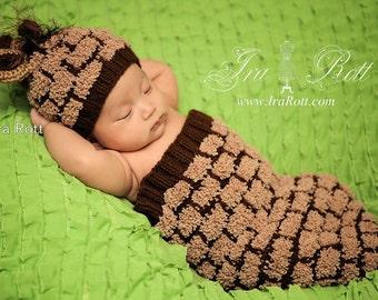 Rusty Giraffe Hat and Cocoon Set for Newborn READY to SHIP Handmade Photo prop