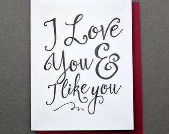 I Love You and I Like You Parks and Rec Leslie Knope, Valentines for Her, Valentine for Him, Happy Galentines Day