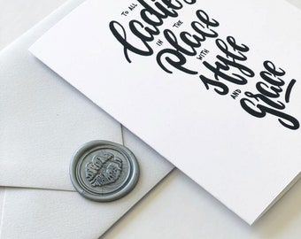 """Biggie Song Lyrics Greeting Card """"To all the Ladies in the Place with Style and Grace"""" - Mother's Day Gift - Wax Seal Sticker, Black & White"""