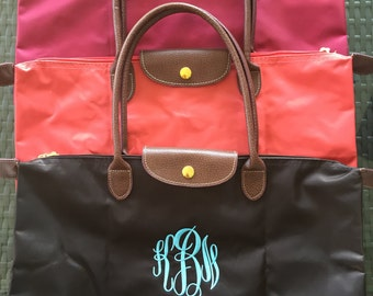 SHIPS NEXT DAY -- Personalized Monogrammed Designer Inspired Longchamp tote bag purse --Free Monogramming