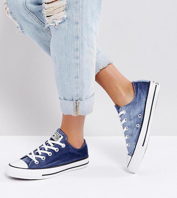 Blue Converse Velvet Midnight Navy Custom Chuck Taylor Low Crystal Wedding Kicks w/ Swarovski Rhinestone Bling All Star Bride Sneakers Shoes