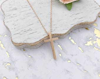 Rose Gold Cross Dainty Necklace