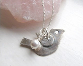 Little Bird Necklace, Bridesmaid Necklace, Silver Bird Pendant, Sterling Bird Jewelry