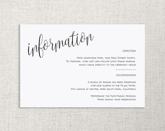 Wedding Enclosure Card, Details Card, Information card, Printable, Wedding Enclosure, Info Card, Template, PDF, Instant Download, #SPP013wd