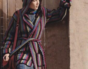PDF crocheted hooded hoodie cardigan coat jacket vintage crochet pattern jacket lady's INSTANT download pattern only pdf