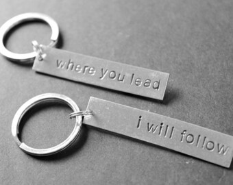 Where You Lead I Will Follow Keychains, Mother Daughter Gift, Best Friend Gift, Girlfriends Gift, BFF Gift, Bridesmaids Gift, Gifts for Her