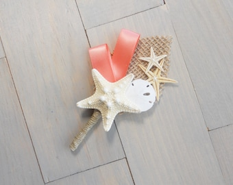 Coral Reef Beach Boutonniere, Starfish Boutonniere, Beach Wedding