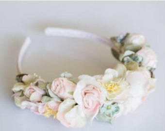 flower crown. flower head band. girls head band. ladies head band. velvet flower head band. flower headband woodland faerie.