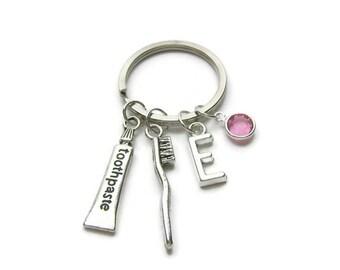 Personalized Dental Keychain, Dental Hygienist Keychain, Dentist Keychain, Tooth Brush Keychain, Tooth Paste Keychain, Dental Jewelry Gift