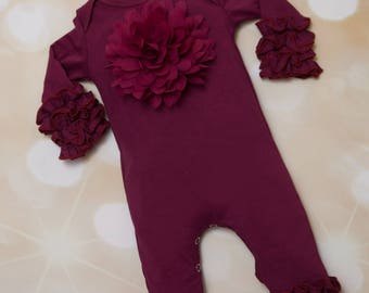 Holiday Ruffle Wine Infant Layette Cotton Baby Romper with Large Chiffon On The Chest and Matching Headband