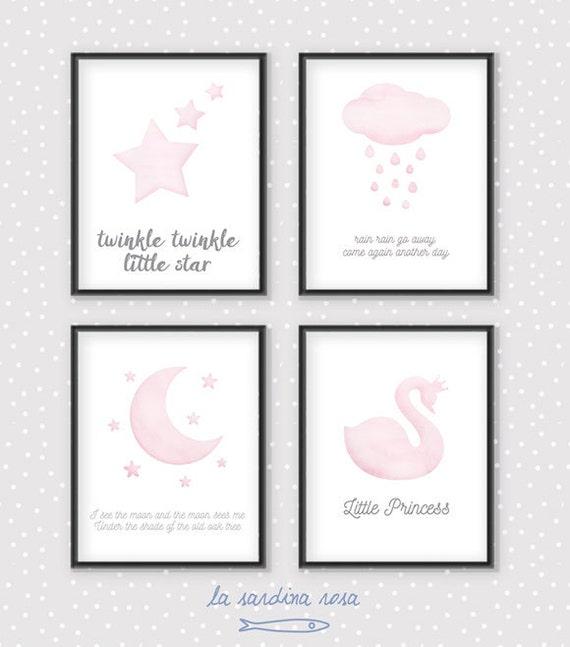 Affiche papillon rose aquarelle imprimable Poster citation