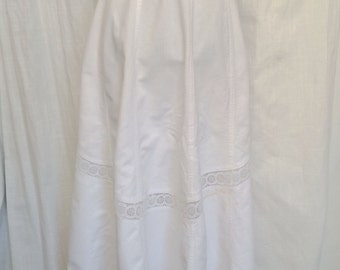 Vintage Victorian Ribbed Cotton Summer Skirt with Eyelet Lace Insets XS