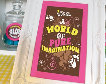 Willy Wonka quotes, images for 4x6 or 5x7 picture frames Willy Wonka birthday party decorations DiY printable digital files PiNK full set