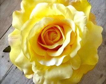Yellow Rose Rockabilly Hair Clip