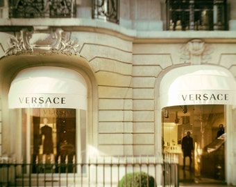 Chic Designer Clothing Photograph Paris France Style, Montaigne, Gold, Beige, upscale, Luxury, Shop- Versace in Gold