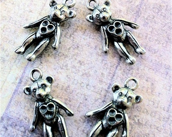 Teddy Bear Charms with 3 holes for stones -4 pieces-(Antique Pewter Silver Finish)--style 682--Free combined shipping