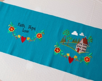 """Embroidered table runner. Home blessing. Cotton table linens. 14"""" by 51"""". 35cm by 130cm. Housewarming gift."""