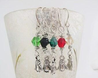 Penguin earrings - Green Penguin Earrings - Red Penguin Earrings - Black Penguin Earrings - Champagne Penguin Earrings - Red Crystal Earring