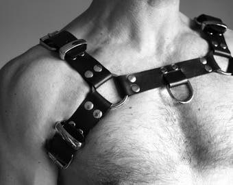 "NEW ""METAL SKIN"" leather Fetish harness"