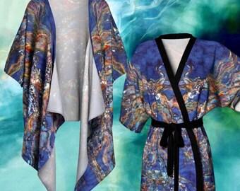 Cosmic Horses Kimono Cardigan - Horses from the Sky Batik