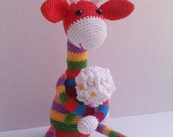 Crochet giraffe, Rainbow Giraffe with Flowers, Wireframe doll, Amigurumi